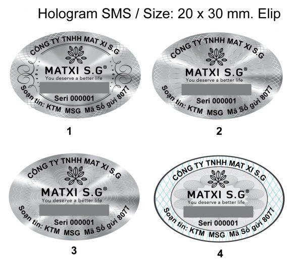 Tem SMS hologram laser 7 màu tích hợp phát sáng chống hàng giả 3
