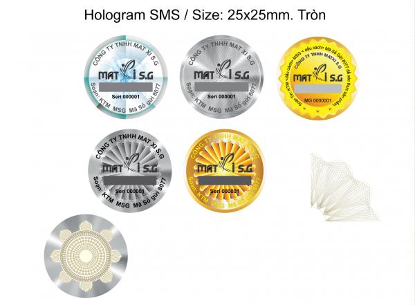 Tem SMS hologram laser 7 màu tích hợp phát sáng chống hàng giả 2