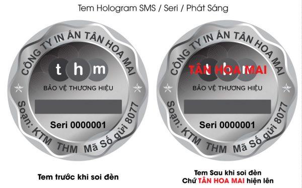 Tem SMS hologram laser 7 màu tích hợp phát sáng chống hàng giả 6