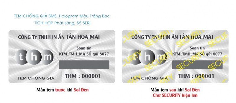 Tem chống giả hologram 7 màu tích hợp chống giả điện tử SMS, in số seri 7