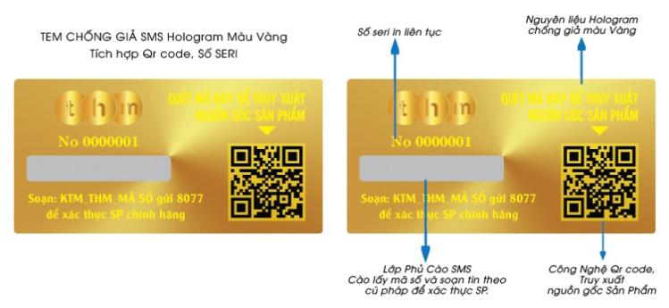 Tem chống giả điện tử sms, qr code. In trên nền nguyên liệu hologram vàng.