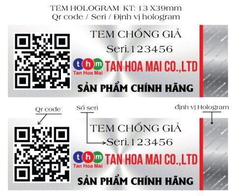 Tem chống hàng giả qrcode sms hologram in serial Tân Hoa Mai cung cấp