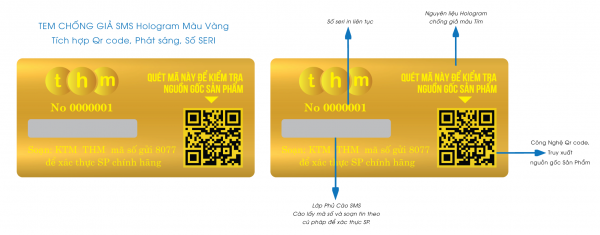 Tem SMS hologram laser 7 màu tích hợp phát sáng chống hàng giả 7