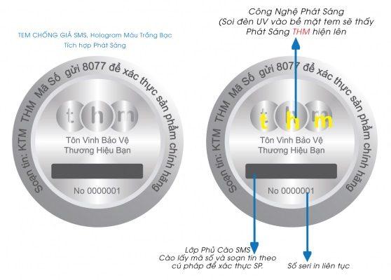 Tem chống giả điện tử SMS Hologram in số seri liên tục 5
