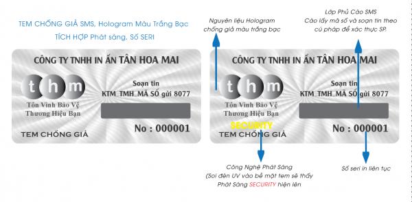 Tem SMS hologram laser 7 màu tích hợp phát sáng chống hàng giả 8