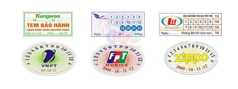Một số mẫu tem bảo hành decal tại Tân Hoa Mai