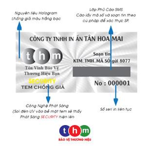 Tem Chống Hàng Giả SMS, Hologram Màu Trắng Bạc Phát Sáng In Số Serial 4