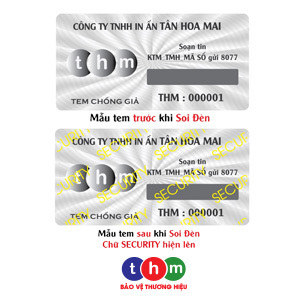 Tem Chống Hàng Giả SMS, Hologram Màu Trắng Bạc Phát Sáng In Số Serial 3