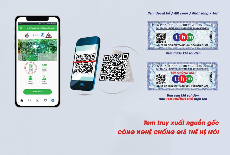 In tem truy xuất nguồn gốc decal Tân Hoa Mai kết hợp phát sáng