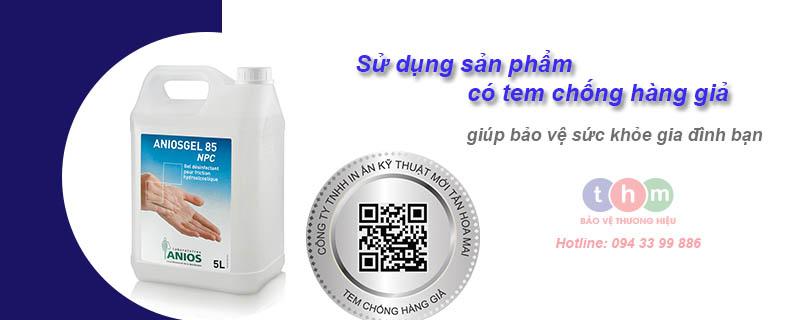Tem chống hàng giả nhận biết gel rửa tay anios gel chính hãng - in tem chống hàng giả, truy xuất nguồn gốc Tan Hoa Mai