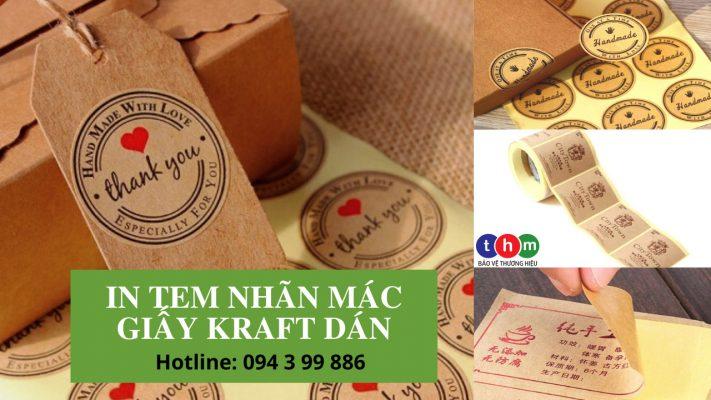in tem nhãn mác bao bì sản phẩm bằng giấy decal dán kraft dán - Tem nhãn mỹ phẩm được làm từ giấy Kraft