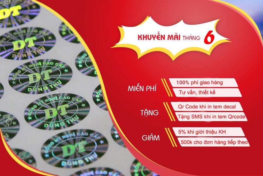 khuyến mại tháng 6 khi in tem chống hàng giả Tại Tân Hoa Mai
