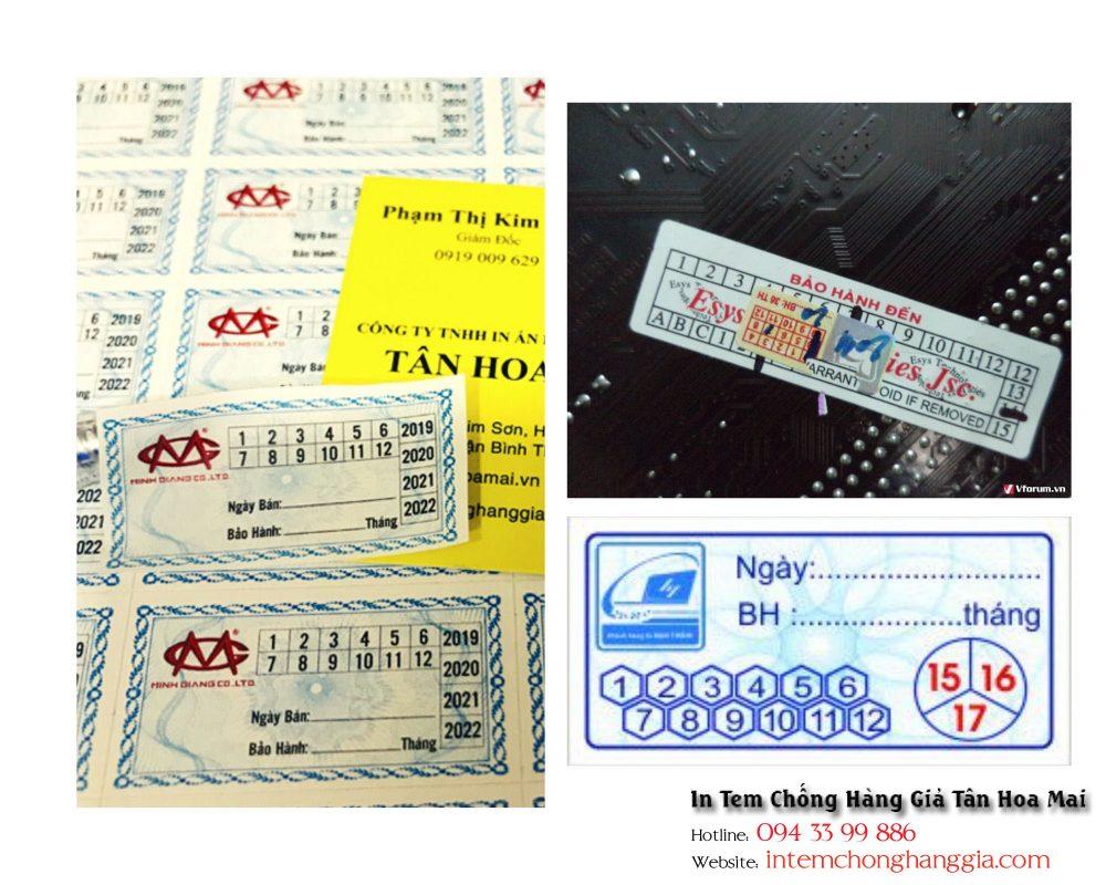 Tem bảo hành - tem niêm phong in trên nguyên liệu decal bể Tân Hoa Mai