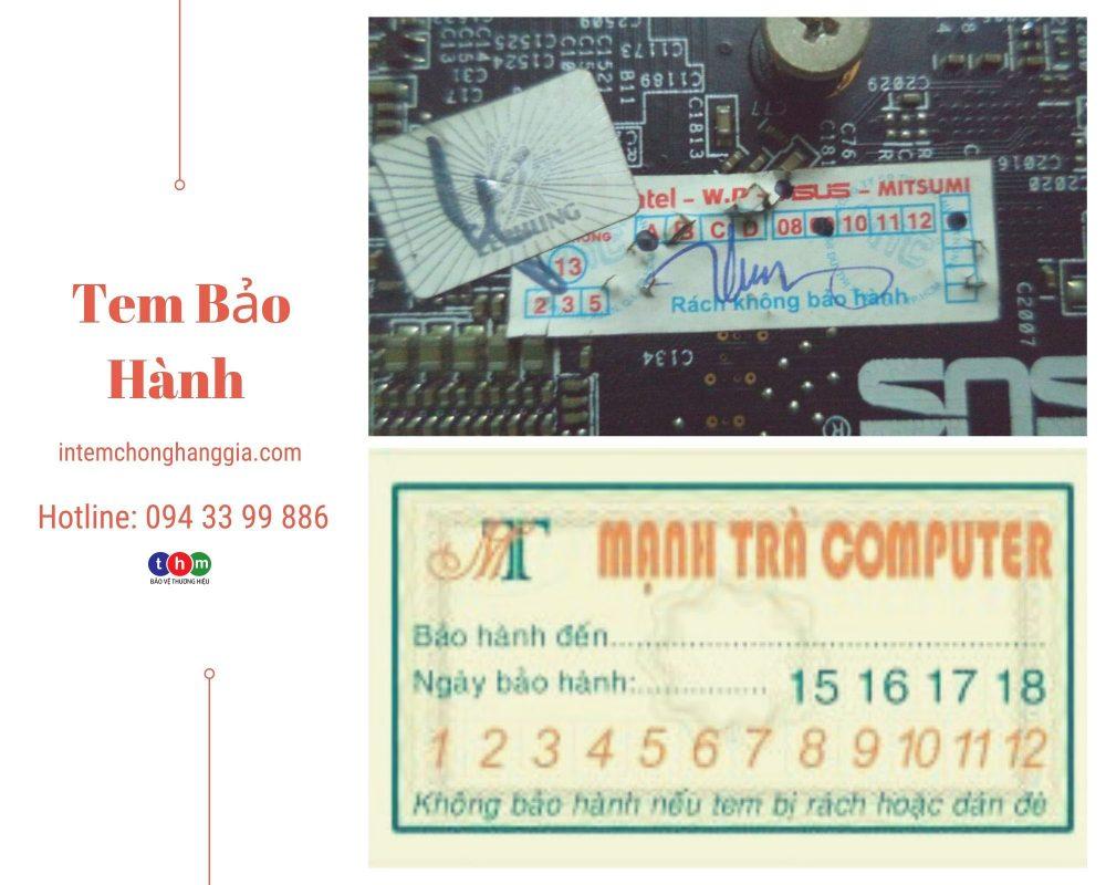 in tem bảo hành - tem niêm phong decal bể kết hợp tem chống hàng giả hologram trắng bạc cho các linh kiện điện tử