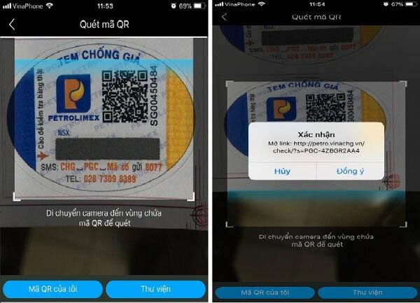 tem chống hàng giả gas petrolimex được xác thực qua ứng dụng trên điện thoại